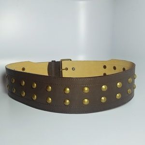 Extra wide brown leather belt studded